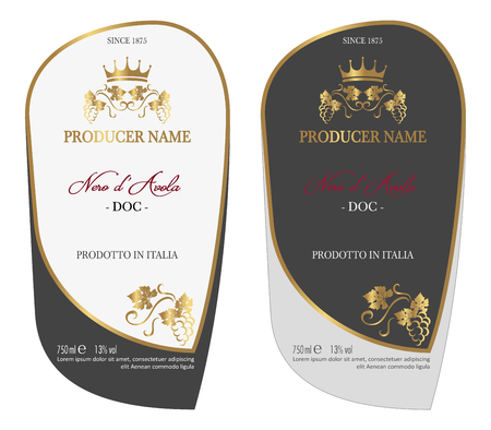 Set of Vector wine label for wine bottle or mock up with this label