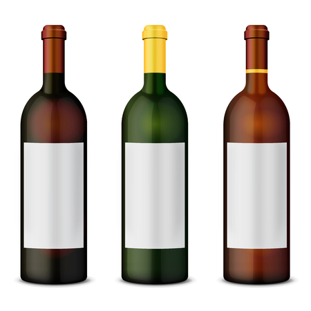 Set of wine bottles: Red, White and Rose 向量圖像