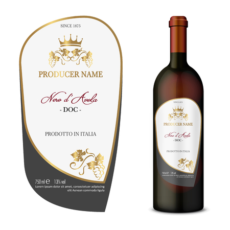 A Vector wine label and bottle of wine mock up with this label