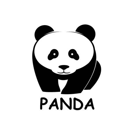 Panda bear silhouette Logo design vector template. animal Logotype concept icon 向量圖像