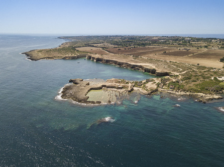 Aerial view of scenic coastline of Plemmirio Natural Reserve in Sicily, Italy