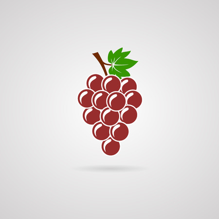 bunch of red grapes with green leaf. Icon design Vectores