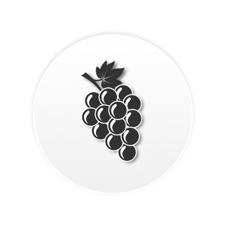 bunch of red grapes with green leaf. Icon design 向量圖像