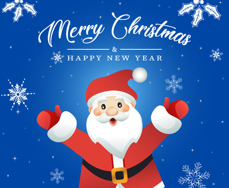 Vector Illustration of Cartoon Santa Claus. Merry Christmas and Happy new Year Card