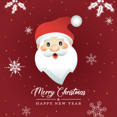 Vector Illustratio of Cartoon Santa Claus. Merry Christmas and Happy new Year Card 向量圖像