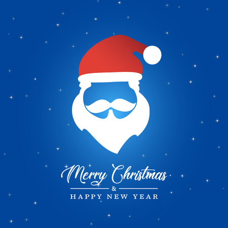 Vector Illustratio of Santa Claus Silhouette. Merry Christmas and Happy new Year Card 向量圖像