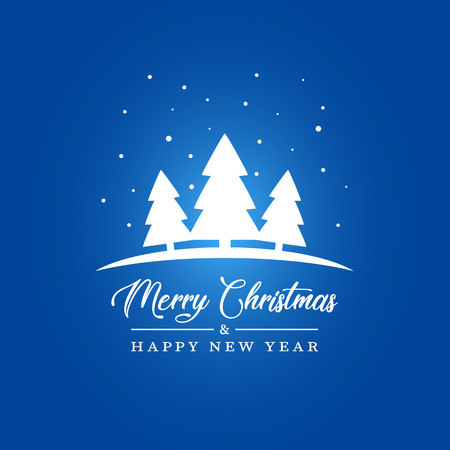 Vector Illustratio of Christmas Tree Silhouette. Merry Christmas and Happy new Year Card 向量圖像