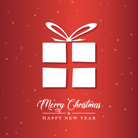 Vector Illustratio of Christmas Gifts Silhouette. Merry Christmas and Happy new Year Card 向量圖像