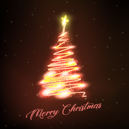 Luminous Christmas tree with decorations on Stars Background
