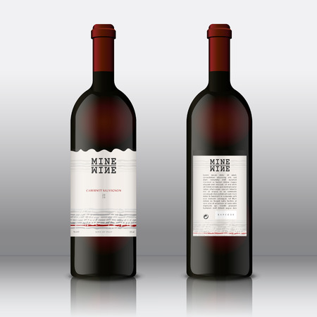 Set of Red Wine bottles with Front and Rear Premium Quality Labels