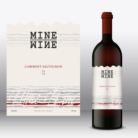 Modern Vector wine label and bottle of wine mockup with this label