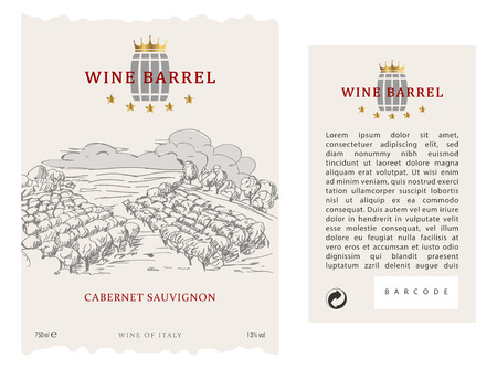 Set of Front and Rear wine label for wine bottle. Vector Label Template