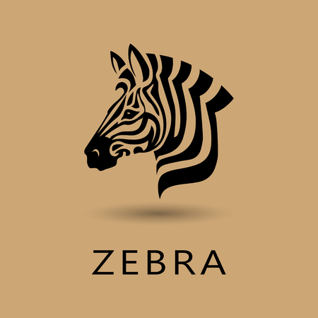 Vector Zebra Head logo on white background