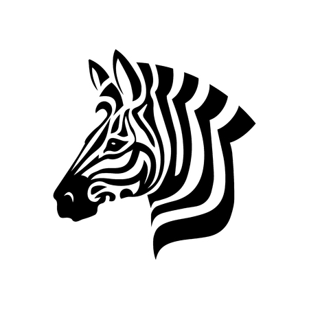 Vector logo de cabeza de cebra sobre fondo blanco