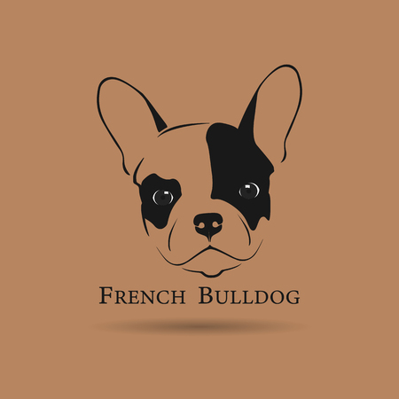French Bulldog Head on Brown Background. Vector illustration for your design project