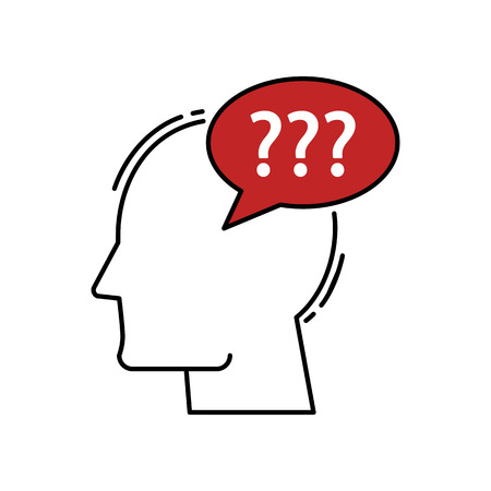 vector Human Head With Question Mark icon. Modern flat design