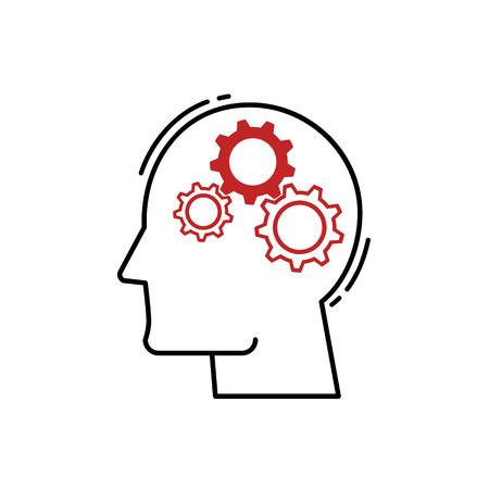 vector Human Head With Gears icon. Modern flat design 向量圖像