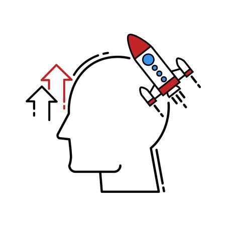 vector Human Head With Rocket icon. Modern flat design 向量圖像
