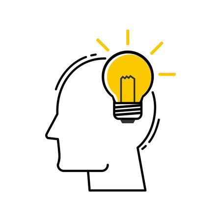 vector Human Head With Light Bulb icon. Modern flat design