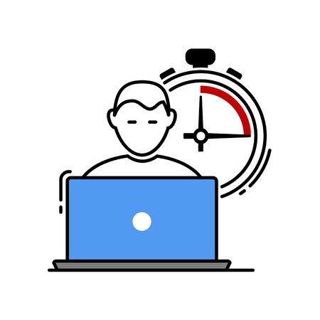 freelance with a notebook and timer