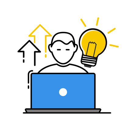 Vector icon, flat design of a freelancer with his laptop and a Light Bulb. Business concept