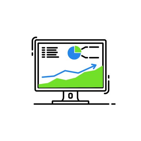 computer desktop with statistics vector illustration design