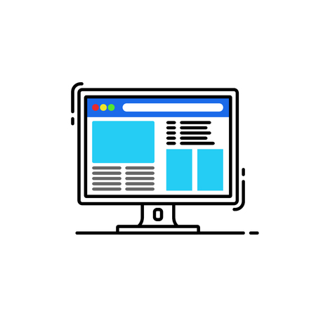 flat design of a Desktop computer with colorful web page on the screen 向量圖像