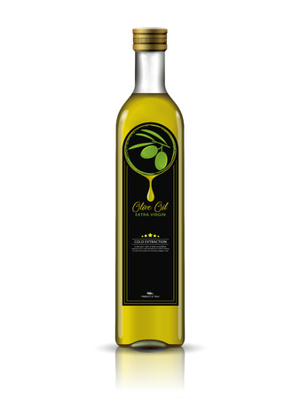 Olive Oil Bottle With Label Template. Package mock-up 向量圖像