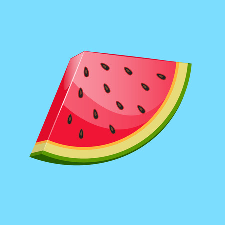 Watermelon icon. Juicy ripe fruit on colored background