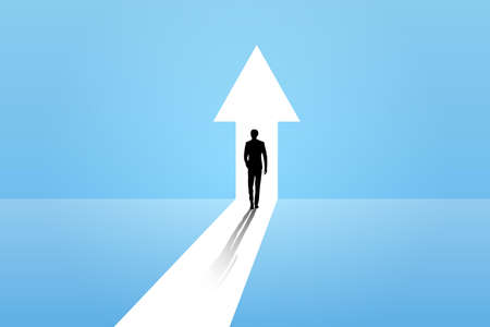 Business growth vector concept with man walking towards upwards arrow.