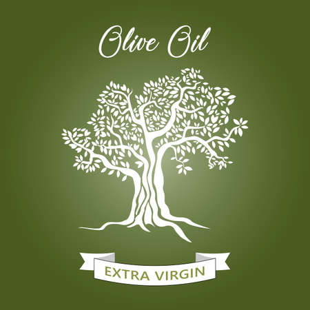 Magnificent olive tree silhouette on Green background. Infographic modern vector sign. Premium quality illustration logo design concept.