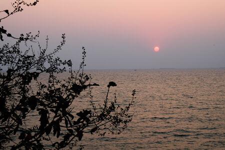 The sun and sea twilight. photo