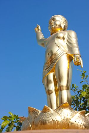 godhead: Golden Young Buddha Stand Post Statue
