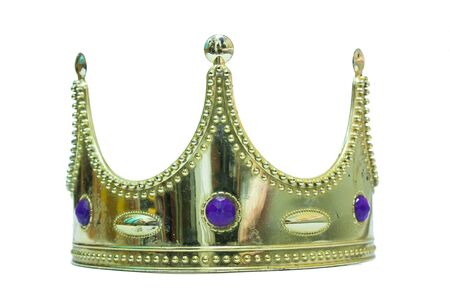 isolation: FrontView Golden Toy Crown Isolation Stock Photo
