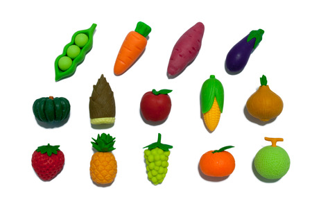 isolation: Clay Rubber Fruits And Vegetables Isolation Stock Photo
