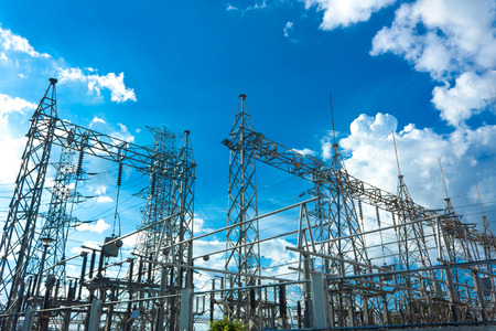 power lines: Electrical Power Plant At Day Stock Photo