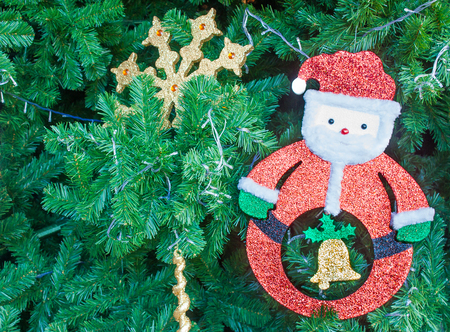foamed: Foamed Plastic Sheet Santa Claus On Pine Bush Christmas Tree Background