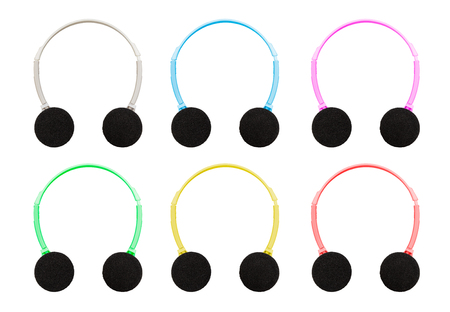 to muffle: Isolation With Clipping Path Of Pastel Colored Headphones With Muffle Face Up On White Background Stock Photo