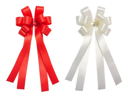 Red and white bow tale glossy ribbon, christmas, reward, prize, award concept icon or symbol decorations, isolation on white background with clipping path