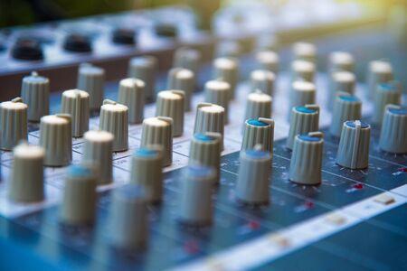 Audio sound mixer khob button board panel&amplifier equipment, sound mixing&engineering concept, selective focus