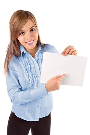 Beautiful business woman holding a blank notecard photo