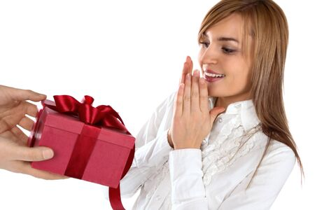 Beautiful happy girl with a gift Stock Photo - 6225257