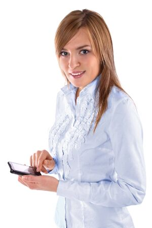 Beautiful business woman holding a phone photo