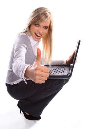 Beautiful girl working on laptop Stock Photo - 6225267