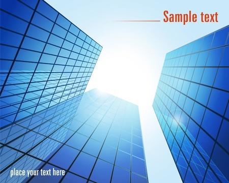diminishing perspective: Blue glass modern buildings. Vector illustration.