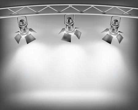 Światła: Åšciana z oÅ›wietleniem. Ilustracji wektorowych.