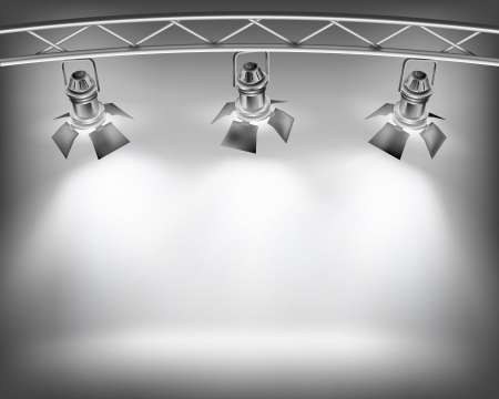 empty stage: Wall with lights. Vector illustration.