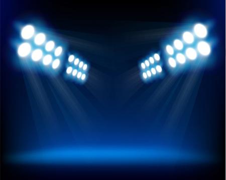 Blue spotlights.