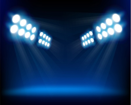 Blue spotlights.  Vector