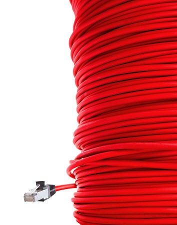 network cable: red network cable Stock Photo